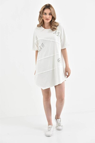 Modkofoni Kadın  Bisiklet Yaka Kısa Kollu Asimetrik Taşlı Salaş Beyaz Elbise