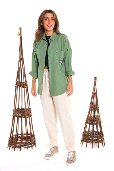 Enisena Kadın Yeşil Dokuma Keten Gömlek