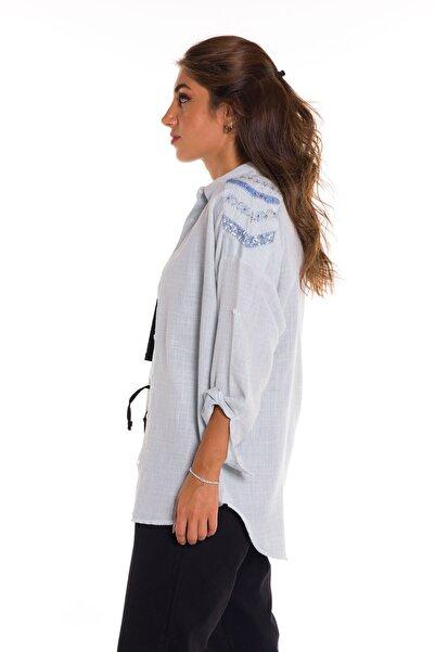 Enisena Kadın Mavi Dokuma Taşlı Keten Gömlek