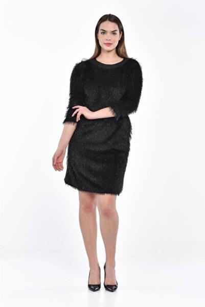 Modkofoni Püsküllü Yandan Cepli Uzun Kollu Siyah Abiye Elbise