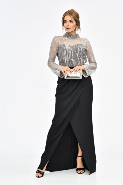 Modkofoni Balıkçı Yaka Tül Detaylı Uzun Kollu Yırtmaçlı Siyah Kadın Abiye Elbise