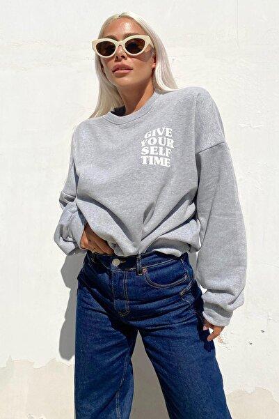 SwistLuxury Gri Give Your Self Ön Ve Arka Baskılı Içi Pamuklu Sweatshirt