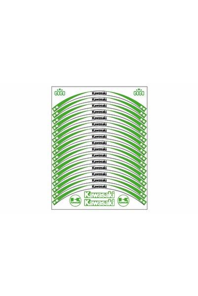 Kawasaki Yeşil Beyaz Reflektörlü Jant Şeridi