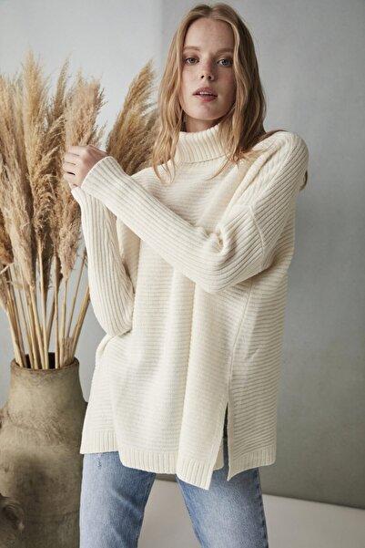 Silk and Cashmere & More Fabiana Balıkçı Yaka Rib Detaylı Uzun Kollu Kazak