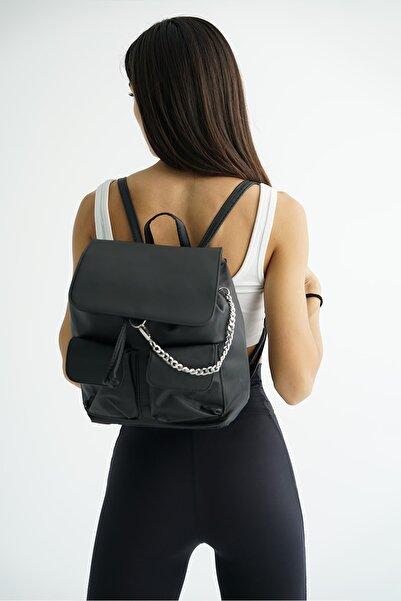 Top All BAG Siyah Kadın Paraşüt Kumaş Okul Sırt Çanta