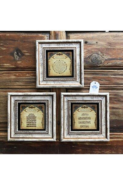 Oscar Stone Decor Çerçeveli Taş Duvar Dekoru Tablo Pano 3'lü 20 X 20 Cm Ayetel Nazar Bereket
