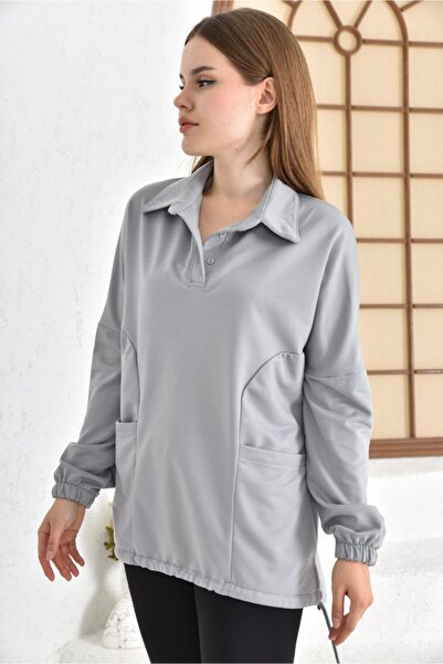 taytland Gömlek Yaka Çift Cepli Bluz