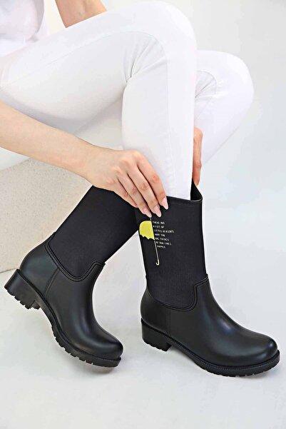 Ccway Kadın Şemsiye Desenli Yağmur Botu Siyah