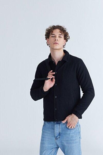 Karpefingo Erkek Çıtçıtlı Kaşe Siyah Ceket