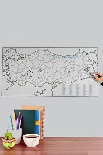 Dilsiz Türkiye Haritası Akıllı Beyaz Kağıt Tahta  Doldurulabilir Silgili Beyaz Tahta Kalemi
