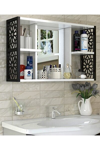 Tedarikcenter Modern Aynalı Raflı Çok Amaçlı 5 Bölmeli Lavabo Üstü Banyo Dolabı - Siyah