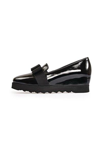 Flower Siyah Fiyonklu Dolgu Ayakkabı