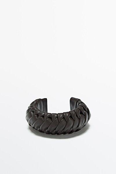 Massimo Dutti Kadın Çikolata Kahverengi Dokuma Deri Bileklik Limited Edition 04603555