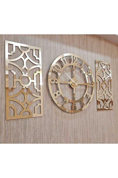 Wooden Factory 3lü Duvar Saati Ve Dekor Türk Rakamlı Mdf Üzeri Aynalı Pleksi Saat 40x40 cm Yan Dekor 19x42cm Gold