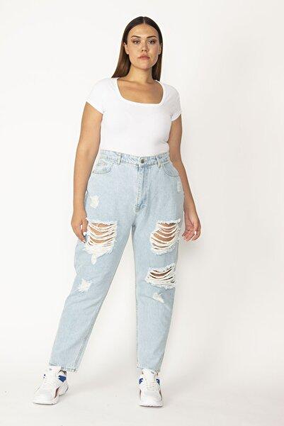Şans Kadın Mavi Yırtık Detaylı Kot Pantolon 65N27838