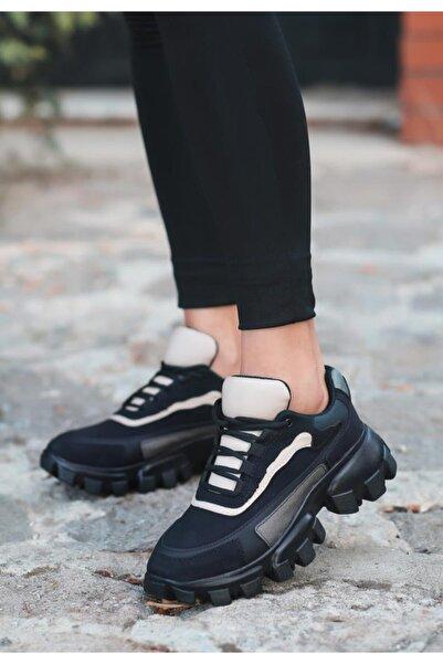 ESPARDİLE Auyr Siyah Nubuk Krem Detaylı Spor Ayakkabı