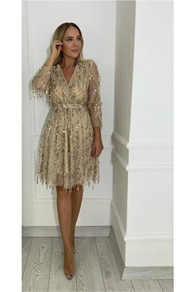 gesmoda M1877 Kruvaze Yaka Payet Detay Abiye Elbise Gold