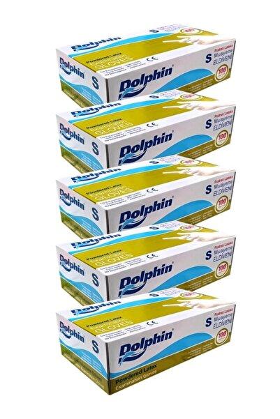 Dolphin Tek Kullanımlık Küçük Pudralı Beyaz Lateks Eldiven - 100 Adetlik 5 Paket - Small