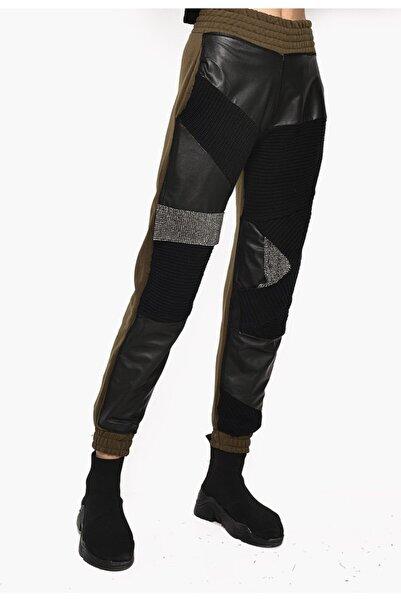 DQMANE Deri Taş Triko Detay Tasarım Pantolon