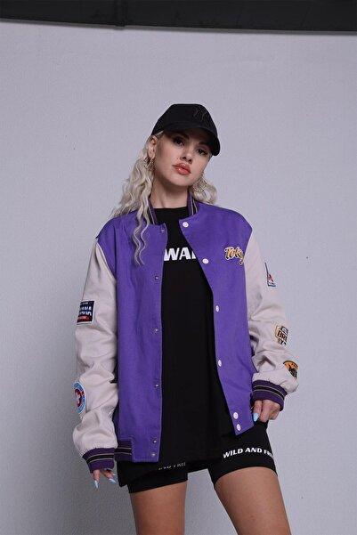 HOLLY LOLLY Kadın Mor Çıtçıt Kapamalı Baskılı Kolej Kelly Ceket