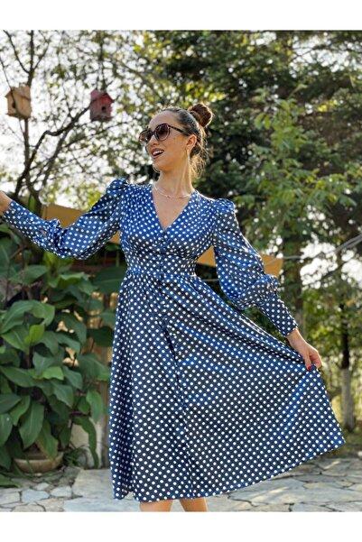 Cappole Mavi Vatkalı Saten Elbise