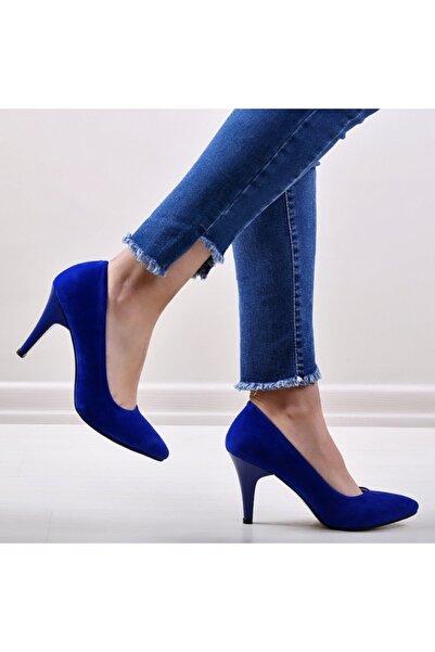 pabucmarketi Sax Mavi Kuzu Kadın Stiletto Ayakkabı