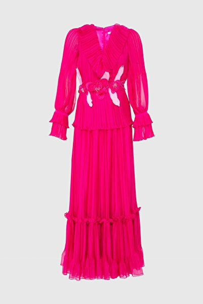xGIZIA Pembe Fırfırlı Uzun Şifon Elbise