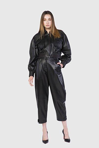 xGIZIA Dikiş Detaylı Volümlü Kollu Crop Siyah Deri Ceket