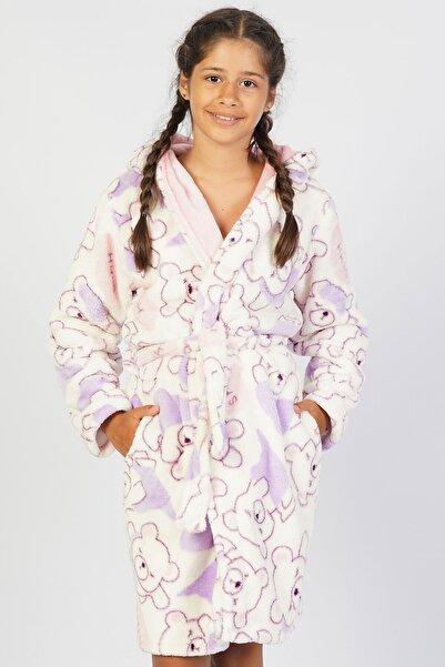 VİENETTA Kız Çocuk Welsoft Kapşonlu Uzun Kol 7-14 Yaş Beden Leylak Sabahlık Takım