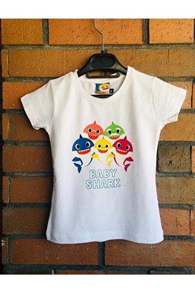 Atölye35 Baby Shark Baskılı Tişört / Babyshark Çocuk T-shirt Doğum Günü 1 Yaş