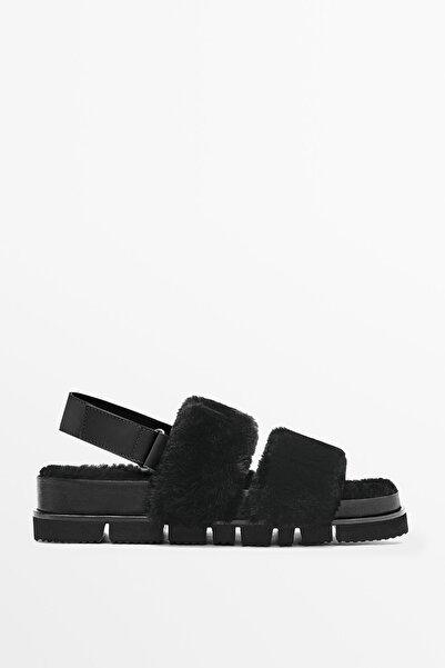 Massimo Dutti Siyah Bantlı Deri Sandalet