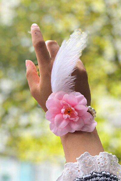 Huzur Party Store Bride To Be 10 Adet Nedime Gelin Bilekliği Tüy Ve Inci Detaylı Pembe Renkli Bekarlığa Veda Partisi