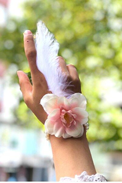 Huzur Party Store Bride To Be 10 Adet Nedime Gelin Bilekliği Tüy Ve Inci Detaylı Beyaz Somon Bekarlığa Veda Partisi