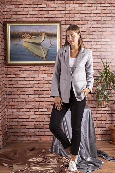 STAMINA Kadın Premium Düz Tek Düğmeli Uzun Ceket