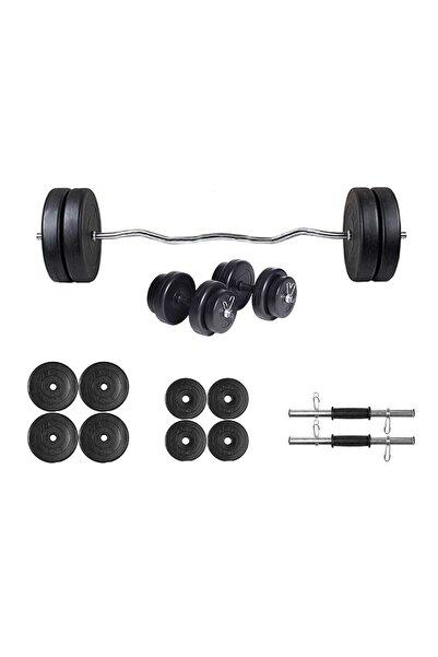 ECG Spor 30kg Z Bar Dambıl Seti Siyah