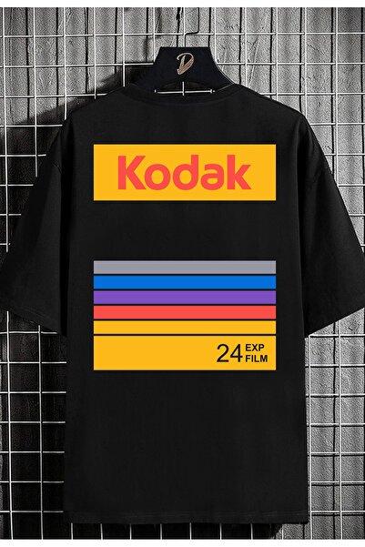 DE PLEIN Oversize Unisex Kodak Siyah Baskılı % 100 Pamuk T-shirt