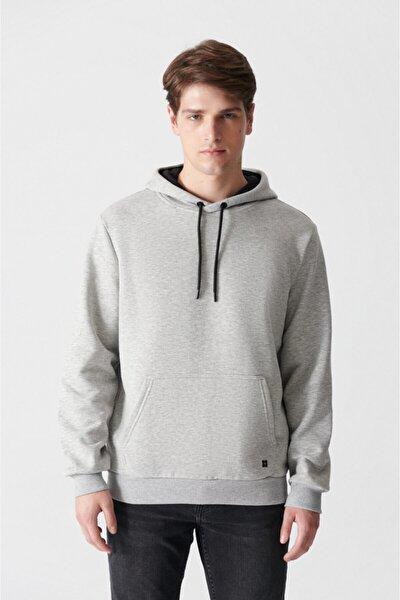 Avva Erkek Gri Kapüşonlu Yaka Düz Sweatshirt E001018