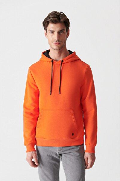 Avva Erkek Neon Turuncu Kapüşonlu Yaka Düz Sweatshirt E001018