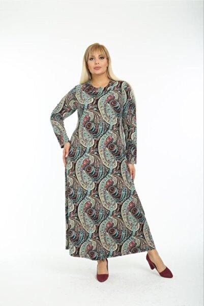 ZTO Büyük Beden Şal Desen Yumoş Kumaş Likralı Uzun Elbise