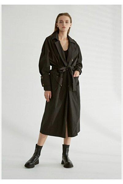 miss wardrobe Kadın Siyah Çıtçıtlı Kuşaklı Trençkot