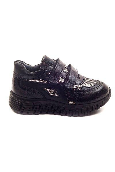 Minipicco Kız Cocuk Siyah Deri Ortopedik Destekli Çocuk Ayakkabı