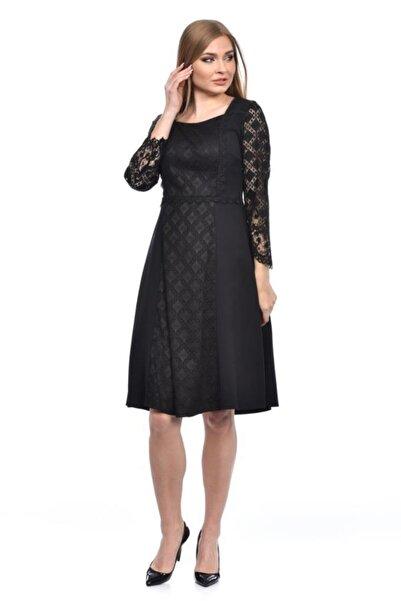 Modkofoni Pencere Yaka Astarlı Uzun Kollu Dantel Ve Güpürlü Siyah Elbise