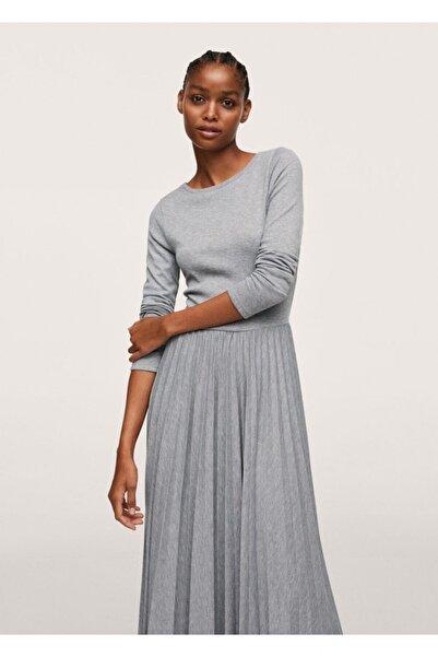 MANGO Woman Pilili Örgü Elbise
