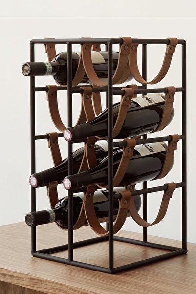 Tizetto Şaraplık Metal Deri Bantlı 8'li