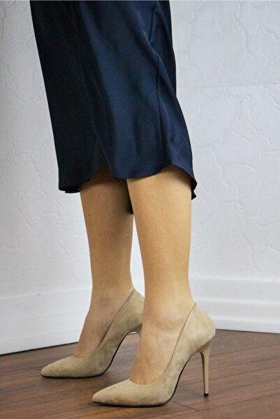 GULT Kadın Stiletto Ince Yüksek Topuklu Ayakkabı Nude Süet