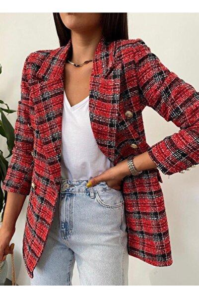 BENGİ BUTİK Kadın Kırmızı Ekoseli Gold Düğme Detay Astarlı Tüvid Blazer Ceket