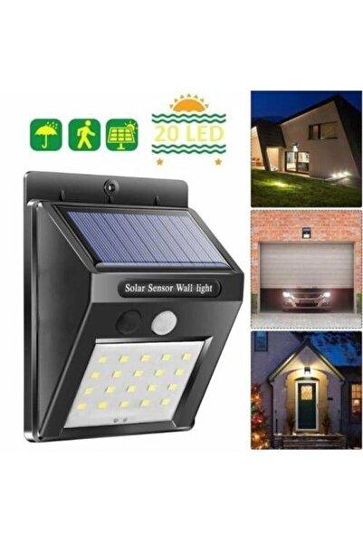POYRAZ GOLD SİLVER Işık Sensörlü Güneş Enerjili Solar Duvar Kapı Kamp Bahçe Lambası Fotoselli Projektör 20led Lambalı