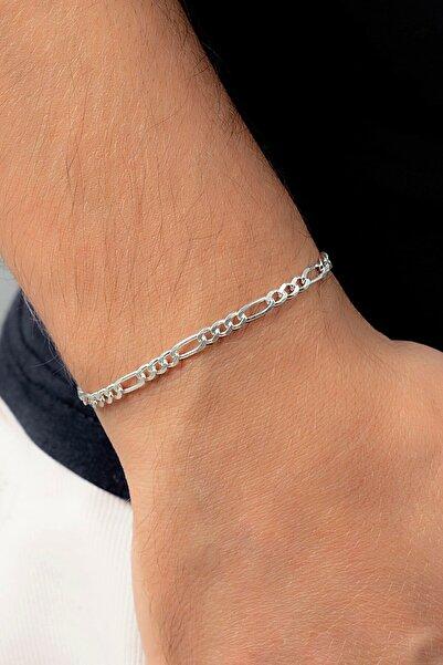 Midyat Gümüş Dünyası Figaro 925 Ayar Gümüş Erkek Zincir Bileklik
