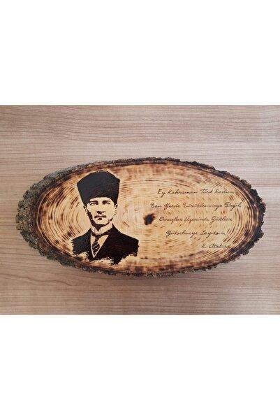 Umut Atölyesi Doğal Ağaç Üzerine Atatürk Portresi (AHŞAP YAKMA) Yatay