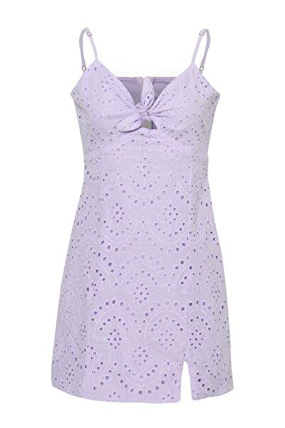 Quzu Düğüm Detaylı Askılı Mini Elbise Lila